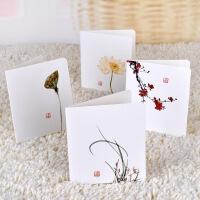 满18包邮(新疆西藏等偏远地区及港澳台除外)创意古典中国风贺卡 白色简约留言diy折叠生日圣诞节元旦祝福卡片