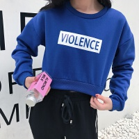 秋装韩版宽松圆领字母印花长袖卫衣外套短款套头上衣女学生潮 均码
