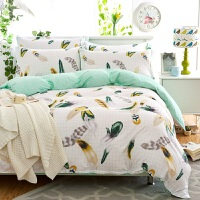 简约棉四件套床上用品棉双人被套床单4件套1.5m1.8米 白色 思羽情怀