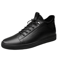 高帮鞋男板鞋真皮男士靴子冬季新款百搭中帮短靴男生加绒黑皮鞋潮