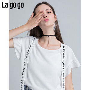 Lagogo/拉谷谷2018年夏新款时尚学院风系带短袖雪纺衫HASS334F16