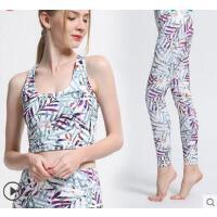 新款时尚性感显瘦瑜伽服套装女健身房跑步运动背心两件套