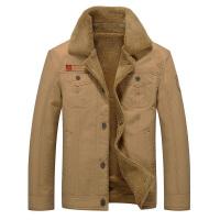冬季加绒加厚小棉袄男装褂子中年上衣纯棉纽扣子外套休闲毛领夹克