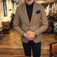 2018冬季西服男士修身韩版休闲英伦小格子青年小西装外套单西