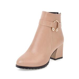 WARORWAR法国新品YG11-6082冬季欧美粗跟中高跟女士靴子切尔西靴短靴
