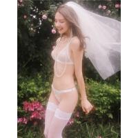 C-072白色婚礼性感内衣蕾丝内衣刺绣超薄文胸套装