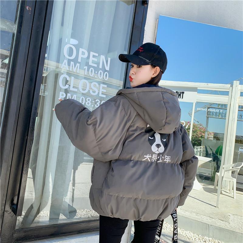 冬季外套女棉衣韩版宽松bf加厚女学生情侣ins面包服 深灰色