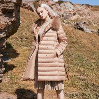 【1件2折到手价:399】MECITY女装冬季系带中长款貉子大毛领韩版轻薄羽绒服