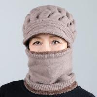 中老年人帽子女士冬天加厚连体妈妈毛线帽老人奶奶老太太冬季保暖 均码有弹性(55-62cm)