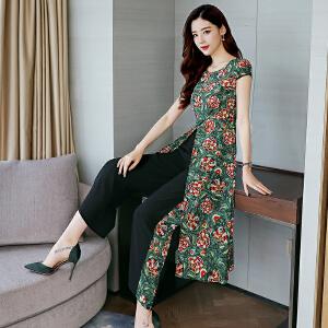 慕朗ML18B065夏季2018新款连衣裙女长裙套头短袖印花居家休闲