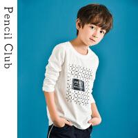【3件2折:23.8】铅笔俱乐部童装2020春装新款男童圆领长袖T恤中大童套头上衣儿童T