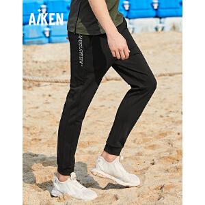 森马旗下Aiken爱肯2018夏季新款宽松男士学生个性收口直筒潮青年休闲长裤 黑色