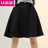 【618大促-每满100减50】Lagogo2017秋冬季新款黑色圆环腰带高腰大摆半身裙A字伞裙女裙子