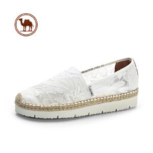 骆驼牌女鞋 2018春季新品时尚蕾丝透气渔夫鞋舒适休闲平底单鞋女
