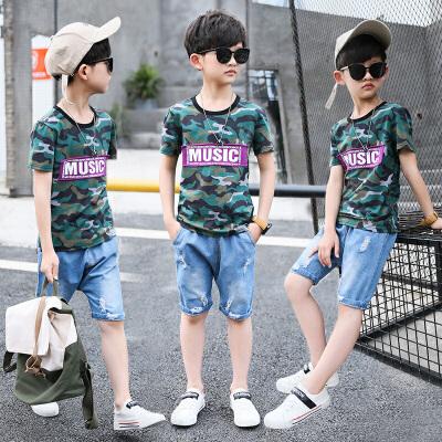 童装男童夏装套装新款儿童夏季短裤迷彩短袖两件套