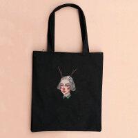 韩国潮帆布女包单肩手提学生书包购物袋大包 龙女-黑竖包