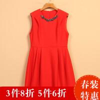 【秋】女新款春8Q1675韩范收腰百搭无袖显瘦连衣裙