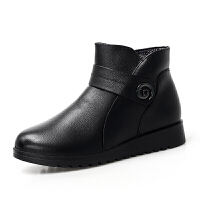冬季真皮防滑奶奶鞋中老年女鞋加绒保暖棉靴妈妈鞋 黑色