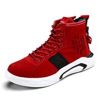 高帮鞋男士运动休闲鞋嘻哈中帮男鞋内增高板鞋潮男个性潮鞋红色秋