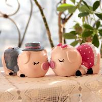 创意家居装饰品情侣猪结婚礼物客厅卧室玄关酒柜工艺品摆设小摆件 接吻猪猪一对(送胶垫) (路损包赔)