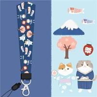新品可爱鲤鱼旗富士山猫咪蓝色长短手机壳挂绳 富士山猫咪 长款挂绳
