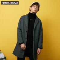 美特斯邦威毛呢大衣男士2017冬装新款都市英伦潮流外套韩商场款
