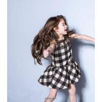 童装女童夏季新款连衣裙子黑白格子背心裙中小童纯棉布3-8岁