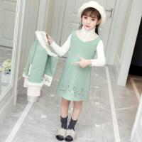 女童秋冬装2018新款韩版套装儿童中大童洋气加厚羊毛呢外套两件套