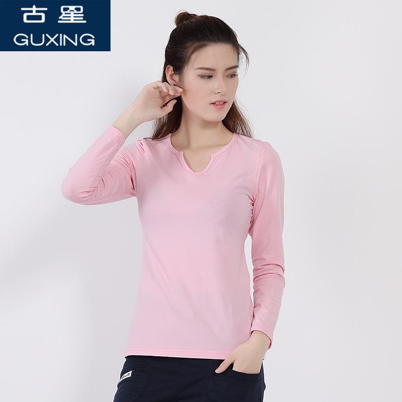 古星春秋女士长袖T恤宽松休闲纯色打底衫棉显瘦修身潮运动上衣时尚休闲 舒适运动上衣