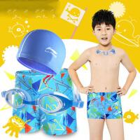 男童泳裤游泳衣平角裤泳镜泳帽泳装儿童青少年游泳装备女套装