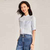 【清仓79元】梵希蔓蓝白条纹衬衫女短袖2019夏季新款宽松半袖立领衬衣