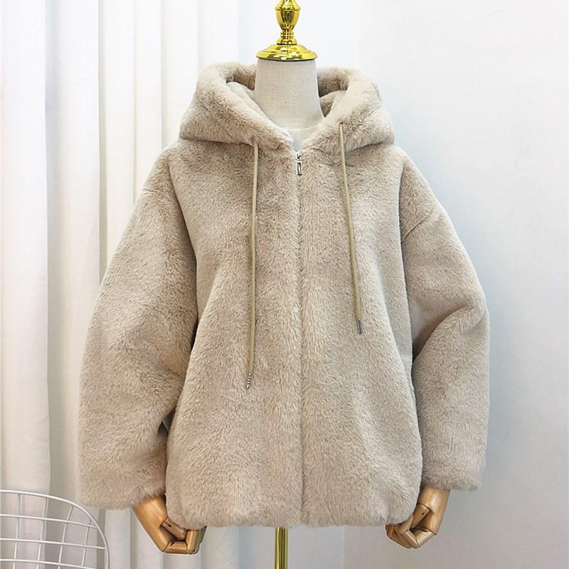羊羔毛外套女2020秋冬新款仿兔毛皮草短款加厚连帽宽松毛绒绒大衣
