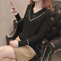 V领女士毛衣2018女装春装新款短款套头打底衫长袖宽松时尚潮