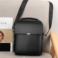 韩版男包包男士单肩包斜挎包商务休闲皮包竖款小手提包潮背包挂包 黑色大号(预售) 送手包