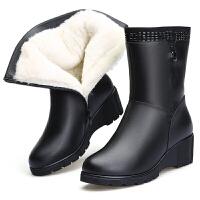 妈妈棉鞋女冬季新款真皮中筒靴软底坡跟羊皮毛一体保暖加绒羊毛靴真皮 黑色5863 送鞋垫棉袜