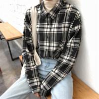 长袖衬衫女秋冬韩国chic宽松磨毛学院百搭复古格子开衫外套上衣
