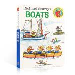 英文原版儿童绘本 Richard Scarry's Boats 斯凯瑞童书 船 纸板书 0-3-6岁幼儿启蒙认知科普绘
