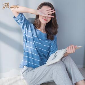顶瓜瓜睡衣套装女条纹七分袖纯棉薄款家居服2018春夏新品