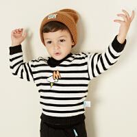 美特斯邦威旗下moomoo童装男童套头毛衣2018新款韩版纯棉加厚宝宝小童冬装