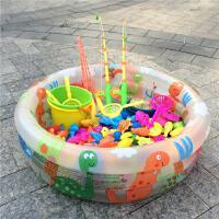 儿童钓鱼益智玩具池小猫磁性鱼广场套装 小孩戏水宝宝钓鱼1-3-6岁