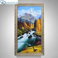 欧式古典油画手绘玄关过道对景书房装饰画美式竖版走廊挂画客厅壁画山水画风景