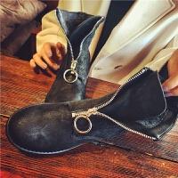 欧洲站新款真皮短靴女前拉链马丁靴女鞋学生复古加厚保暖女靴子冬