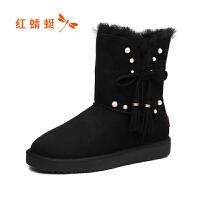 【领�幌碌チ⒓�120】红蜻蜓冬季新款马丁靴女鞋冬鞋百搭冬天棉鞋加绒雪地短靴
