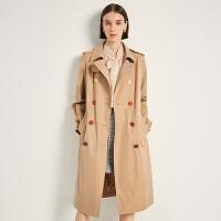 商场同款迪赛尼斯2020秋季新款双排扣韩版大衣英伦风纯棉风衣女士