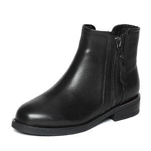 Tata/他她冬黑色牛皮通勤简约方跟女短靴2YWF2DD6