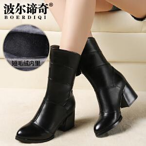 波尔谛奇秋冬新款牛皮中筒靴圆头粗跟棉靴高跟加绒女靴子5932