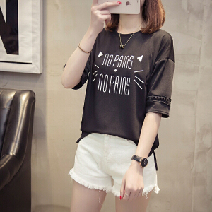 短袖女2018新款夏装韩版条纹短袖t恤女学生宽松白色半袖上衣服潮
