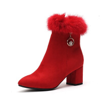 婚鞋女2018新款冬季短靴加绒新娘鞋敬酒红鞋粗跟结婚鞋红色秀禾鞋 红色