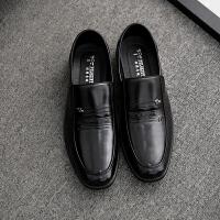春秋商务男皮鞋正装工作鞋舒适中老年休闲鞋软底软皮大码男士 黑色