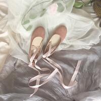 秋晚晚风芭蕾舞鞋绑带平底浅口圆头平跟单鞋女粉色丝带仙女温柔鞋 粉红色 (单里)